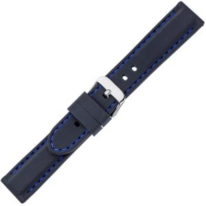 Schwarzes Gummi Uhrenarmband - Blaue Naht