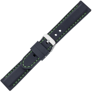 Schwarzes Gummi Uhrenarmband - Grüne Naht