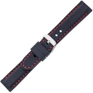 Schwarzes Gummi Uhrenarmband - Rote Naht
