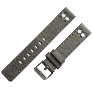OOZOO Uhrenarmband Leder Grau mit Nieten