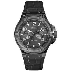 Guess Uhrenarmband W0040G1 Rigor - Schwarzes Leder mit Alligatorprint