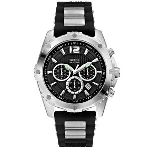 Guess Uhrenarmband W0167G1 Intrepid - Schwarzer Gummi mit Stahl
