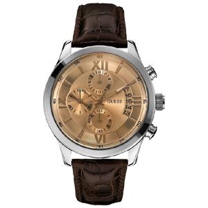 Guess Uhrenarmband W0192G1- Braunes Leder mit Kroko-Struktur