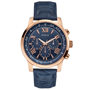 Guess Uhrenarmband W0380G5 - Blaues Leder mit Kroko-Struktur