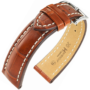 Hirsch Capitano II Louisiana Alligator Uhrenarmband Halb-Matt Goldbraun