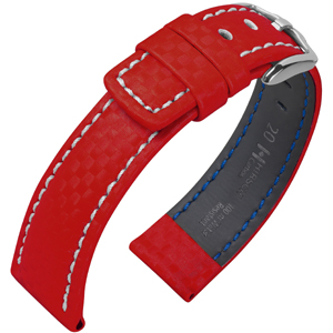 Hirsch Carbon Uhrenarmband 100 m Water-Resistant Rot