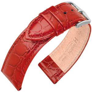 Hirsch Crocograin Uhrenarmband Rot