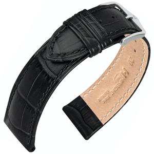Hirsch Duke Uhrenarmband Alligatorgrain Schwarz