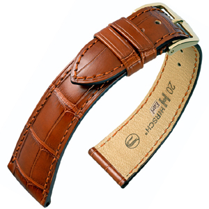 Hirsch Earl Louisiana Alligator Uhrenarmband Halb-Matt Goldbraun