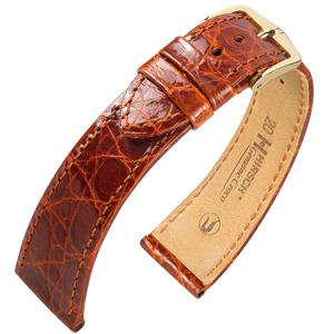 Hirsch Genuine Croco Uhrenarmband Krokodilleder Glänzend Goldbraun