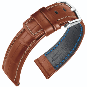 Hirsch Grand Duke Uhrenarmband 100m Alligator Relief Goldbraun