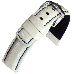 Hirsch Grand Duke Uhrenarmband 100m Alligator Relief Weiss/Blau