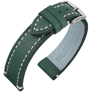 Hirsch Liberty Uhrenarmband Sattelleder Grün