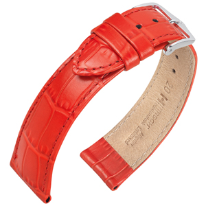 Hirsch Louisianalook Alligatorprint Uhrenarmband Rot