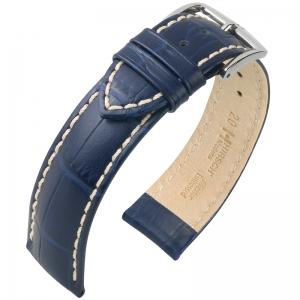 Hirsch Modena Uhrenarmband Alligatorgrain Blau