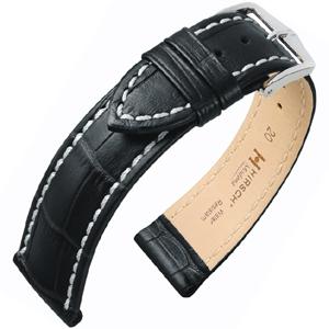 Hirsch Modena Uhrenarmband Alligatorgrain Schwarz