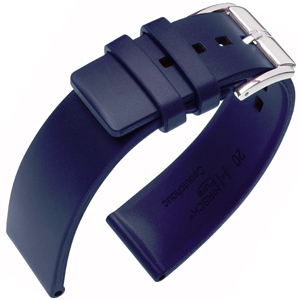 Hirsch Pure Uhrenarmband Premium Kautschuk Blau