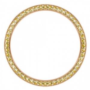 Marc Coblen Lünette 42mm Stahl Rosegold Gelber Kristallring - MCB42R213