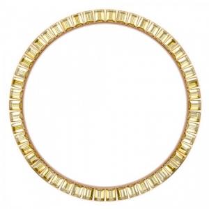 Marc Coblen Lünette 45mm Stahl Rosegold Gelber Kristallrand - MCB45R213