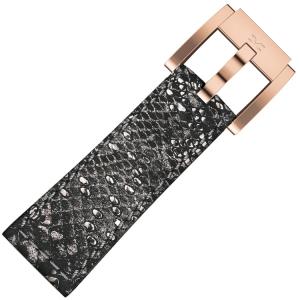 Marc Coblen / TW Steel Uhrenarmband Grau Glamour Leder Schlange 22mm