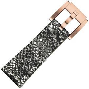 Marc Coblen / TW Steel Uhrenarmband Silber Glamour Leder Schlange 22mm
