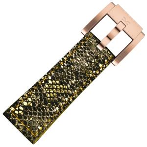 Marc Coblen / TW Steel Uhrenarmband Gold Glamour Leder Schlange 22mm