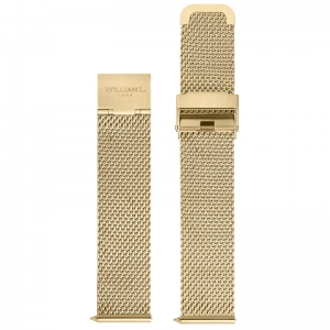 William L. Uhrenarmband Mesh Gold Gewobener Stahl 20mm