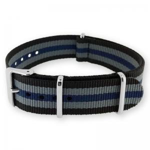 Schwarz Grau Blau NATO Uhrenarmband G10 Military Nylon Strap - PO
