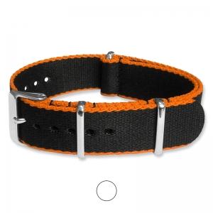 Schwarz Orange Seatbelt NATO Strap Deluxe Nylon Uhrenarmband
