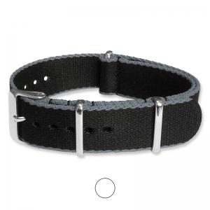 Schwarz Grau Seatbelt NATO Strap Deluxe Nylon Uhrenarmband