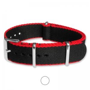 Schwarz Rot Seatbelt NATO Strap Deluxe Nylon Uhrenarmband