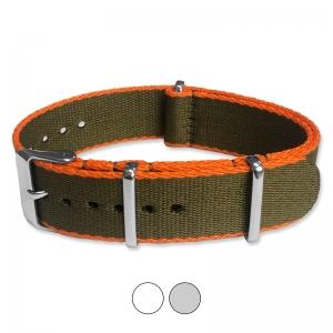 Armeegrün Orange Seatbelt NATO Strap Deluxe Nylon Uhrenarmband