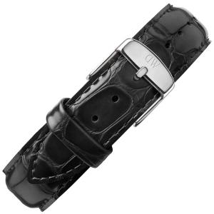 Daniel Wellington 19mm Uhrenarmband Dapper Reading Leder Schwarz mit Stahlschliesse