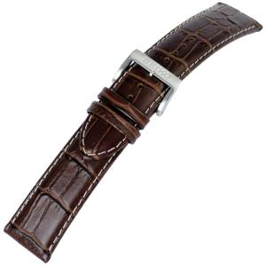 Seiko Uhrenarmband Alligatorgrain Kalbsleder Braun mit Weisser Naht - 22 mm