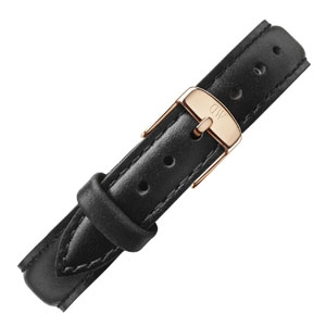 Daniel Wellington 12mm Petite Sheffield Uhrenarmband Leder Schwarz mit Roséschliesse