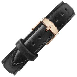Daniel Wellington 17mm Classy Sheffield Uhrenarmband Leder Schwarz mit Roséschliesse