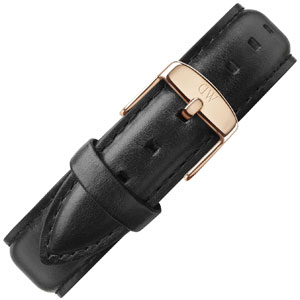 Daniel Wellington 19mm Dapper Sheffield Uhrenarmband Leder Schwarz mit Roséschliesse