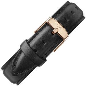 Daniel Wellington 20mm Uhrenarmband Classic Sheffield Leder Schwarz mit Roséschliesse