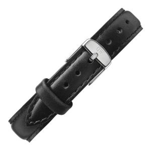 Daniel Wellington 12mm Petite Sheffield Uhrenarmband Leder Schwarz mit Stahlschliesse