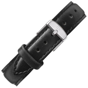 Daniel Wellington 17mm Classy Sheffield Uhrenarmband Leder Schwarz mit Stahlschliesse