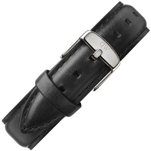 Daniel Wellington 18mm Classic Sheffield Uhrenarmband Leder Schwarz mit Stahlschliesse
