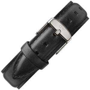 Daniel Wellington 20mm Uhrenarmband Classic Sheffield Leder Schwarz mit Stahlschliesse