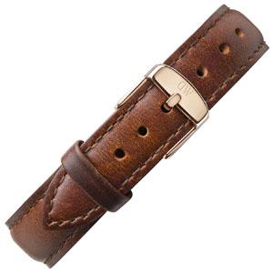 Daniel Wellington 17mm Classy St Mawes Uhrenarmband Leder Braun mit Roséschliesse