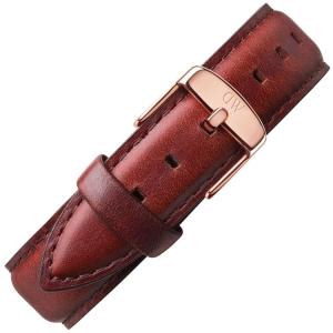 Daniel Wellington 18mm Classic St Mawes Uhrenarmband Leder Braun mit Roséschliesse