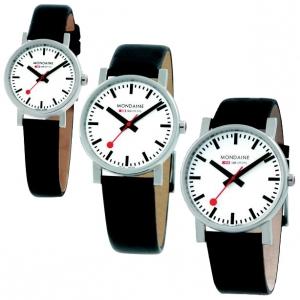 Mondaine Uhrenarmband Leder Schwarz 12 bis 22 mm