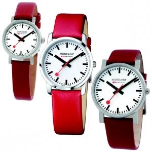 Mondaine Uhrenarmband Leder Rot 12 bis 22 mm