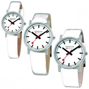 Mondaine Uhrenarmband Leder Weiss 12 bis 18 mm