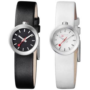 Mondaine Uhrenarmband Aura 30324 Leder Schwarz Schwarz oder Weiss