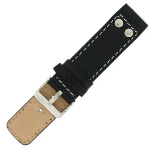 OOZOO Uhrenarmband Leder Schwarz mit Nieten