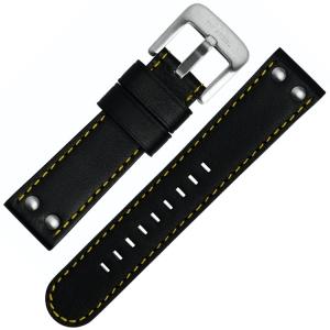 TW Steel Uhrenarmband TW671, TW673 - Schwarz mit Gelber Naht 24mm